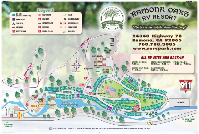 Ramona oaks rv resort san diego campground rv park for Site plan app